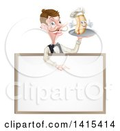Clipart Of A White Male Waiter With A Curling Mustache Holding A Hot Dog On A Platter Over A Blank Menu Sign Royalty Free Vector Illustration by AtStockIllustration