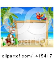 Clipart Of A Happy Rudolph Red Nosed Reindeer Making A Sand Castle On A Tropical Beach By A Blank Sign With A Parrot Royalty Free Vector Illustration