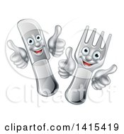 Clipart Of A Cartoon Happy Fork And Knife Giving Thumbs Up Royalty Free Vector Illustration