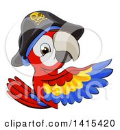 Clipart Of A Scarlet Macaw Pirate Parrot Pointing Around A Sign Royalty Free Vector Illustration