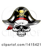 Pirate Skull Wearing A Patch And Captain Hat