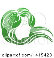 Gradient Green Beatiful Womans Face In Profile With Long Hair And A Butterfly