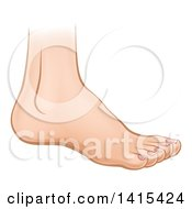 Clipart Of A Cartoon Caucasian Human Foot Royalty Free Vector Illustration
