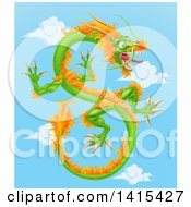 Clipart Of A Green And Orange Chinese Dragon Flying In A Blue Sky With Clouds Royalty Free Vector Illustration