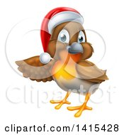 Clipart Of A Christmas Robin In A Santa Hat Pointing To The Left Royalty Free Vector Illustration by AtStockIllustration