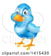 Clipart Of A Cute Happy Blue Bird Royalty Free Vector Illustration by AtStockIllustration