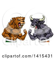 Clipart Of A Muscular Brown Bear Man And Bull Ready To Fight Stock Market Metaphor Royalty Free Vector Illustration
