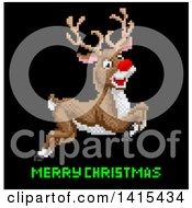 Clipart Of A Retro Pixelated Leaping Rudolph Red Nosed Reindeer Over Merry Christmas Text Royalty Free Vector Illustration