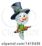 Christmas Snowman Wearing A Green Scarf And A Top Hat Pointing Around A Sign