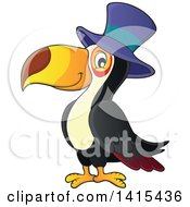 Clipart Of A Cute Toucan Bird Wearing A Top Hat Royalty Free Vector Illustration