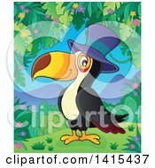 Clipart Of A Cute Toucan Bird Wearing A Top Hat In A Jungle Royalty Free Vector Illustration by visekart