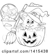 Cute Black And White Lineart Halloween Witch Cat In A Hackolantern Pumpkin