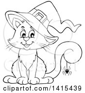 Cute Black And White Lineart Halloween Witch Cat With A Spider On Its Tail