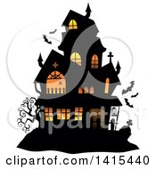 Clipart Of A Lit Haunted Halloween House With Bats Royalty Free Vector Illustration by visekart
