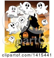 Clipart Of A Lit Haunted Halloween House With Ghosts Royalty Free Vector Illustration by visekart