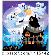 Clipart Of A Lit Haunted Halloween House With Bats Jackolanterns And Ghosts Royalty Free Vector Illustration by visekart