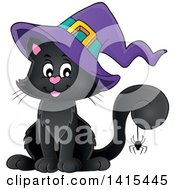 Clipart Of A Cute Black Halloween Witch Cat With A Purple Hat And Spider On Its Tail Royalty Free Vector Illustration