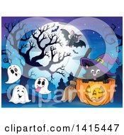 Cute Black Halloween Witch Cat In A Jackolantern Surrounded By Ghosts And A Bat Against A Full Moon