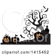 Clipart Of Lit Jackolanterns In A Cemetery With A Silhouetted Bare Tree Royalty Free Vector Illustration