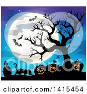 Lit Jackolanterns In A Cemetery With A Silhouetted Bare Tree And Bats Against A Blue Sky With A Full Moon