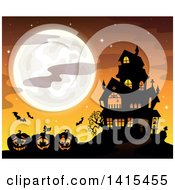 Clipart Of A Lit Haunted Halloween House With Bats And Jackolanterns Against An Orange Sky And Full Moon Royalty Free Vector Illustration by visekart