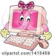 Cartoon Pink Female Desktop Computer Character