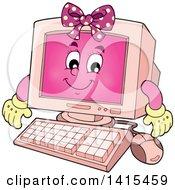 Poster, Art Print Of Cartoon Pink Female Desktop Computer Character