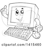 Clipart Of A Cartoon Black And White Lineart Desktop Computer Character Holding Up A Finger Royalty Free Vector Illustration by visekart
