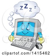 Clipart Of A Cartoon Sleeping Desktop Computer Character Royalty Free Vector Illustration by visekart