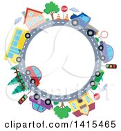 Clipart Of A Road Circle With A Bus Homes And Cars Royalty Free Vector Illustration by visekart