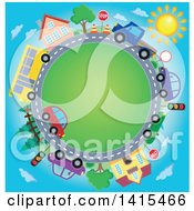 Clipart Of A Road Circle With A Bus Homes And Cars Royalty Free Vector Illustration