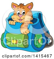 Clipart Of A Cute Cat Inside A Backpack Royalty Free Vector Illustration by visekart