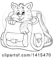 Clipart Of A Black And White Lineart Cute Cat Inside A Backpack Royalty Free Vector Illustration by visekart