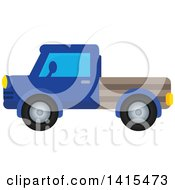 Clipart Of A Blue Pickup Truck Royalty Free Vector Illustration by visekart