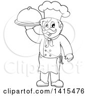 Black And White Lineart Male Chef Holding A Platter