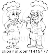 Black And White Lineart Male And Female Chefs