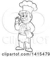 Black And White Lineart Male Chef