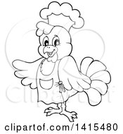 Black And White Lineart Chef Chicken