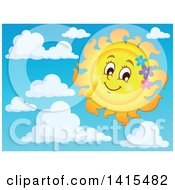 Happy Spring Time Sun Character With Flowers In The Sky With Clouds