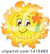 Clipart Of A Happy Autumn Sun Character With Leaves Royalty Free Vector Illustration