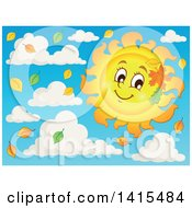 Happy Autumn Sun Character With Leaves In The Sky With Clouds
