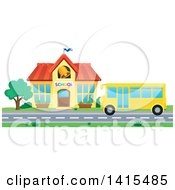 Yellow School Bus In Front Of A Building