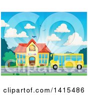 Clipart Of A Yellow School Bus In Front Of A Building Royalty Free Vector Illustration
