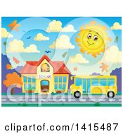 Clipart Of A Yellow School Bus In Front Of A Building In Autumn Royalty Free Vector Illustration