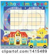 Yellow School Bus And Sun Time Table