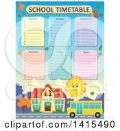 Poster, Art Print Of Yellow School Bus And Sun Time Table