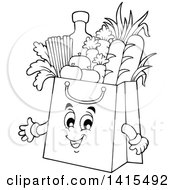 Black And White Lineart Grocery Bag Character