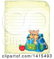 Poster, Art Print Of Cute Cat Inside A Backpack On Ruled Paper