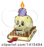 Clipart Of A Human Skull And Witch Candle On A Spell Book Royalty Free Vector Illustration