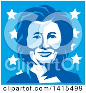 Clipart Of A Retro Portrait Of Hillary Clinton In Blue Tones Over Stars Royalty Free Vector Illustration